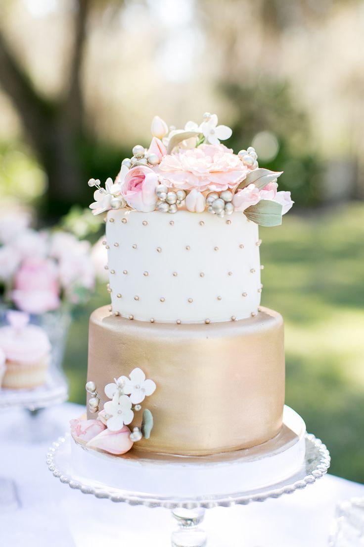 spring garden bridal shower metallic wedding cake