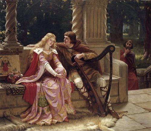 """""""Tristan and Isolde"""" (Date: 1902) by British artist, Edmund Blair Leighton (1852-1922)"""