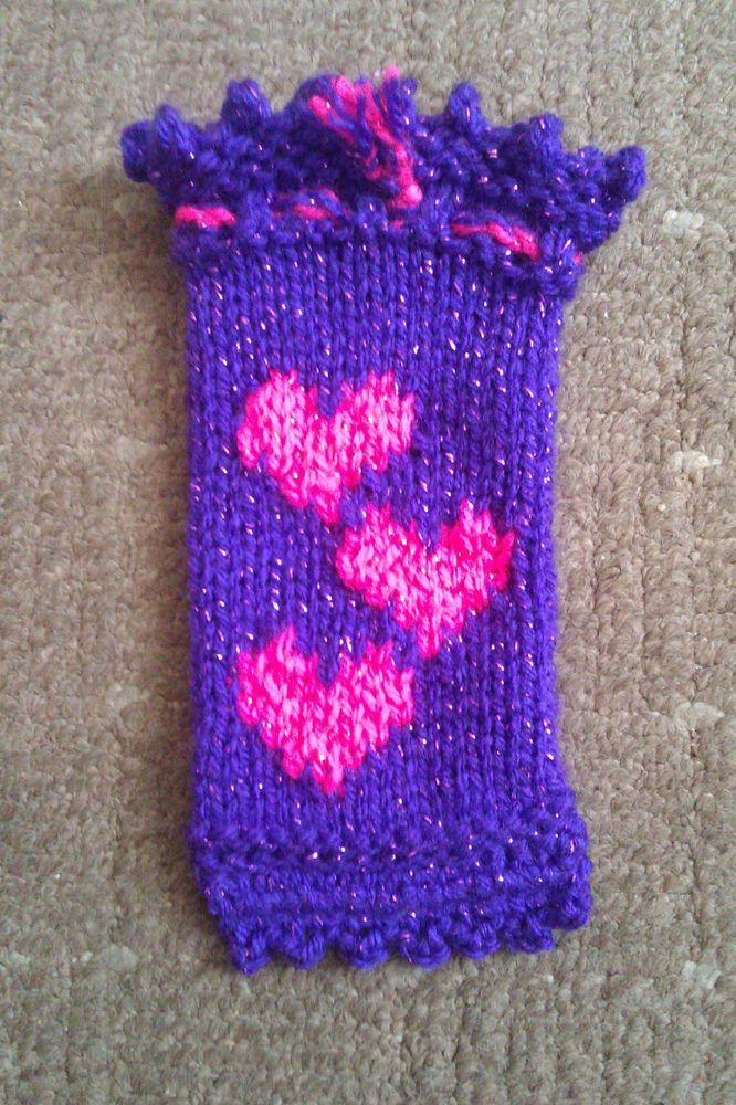 Handknitted mobile sock (Universal, metallic, acrylic, washable yarn)