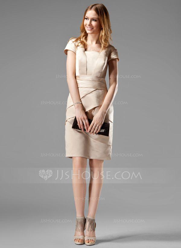 Vestido tubo Escote Cuadrado Altura de la rodilla Satén Estilo Kate Middleton con Volantes (044020783)