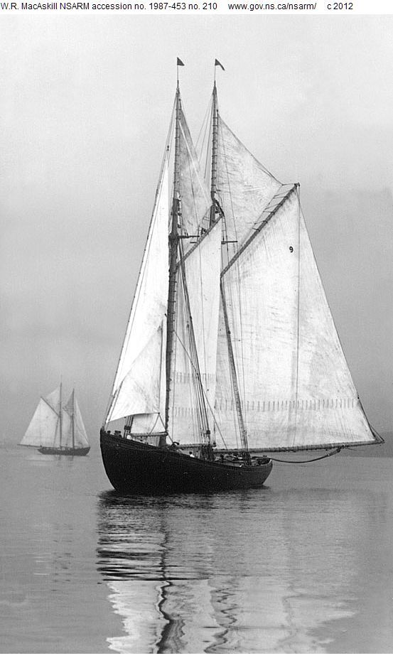 Grand Bank Fishing Schooner Alcala (Sail No. 9) in foreground, Halifax Harbour, 1920 Elimination Races. Image also known as 'Reflections'.