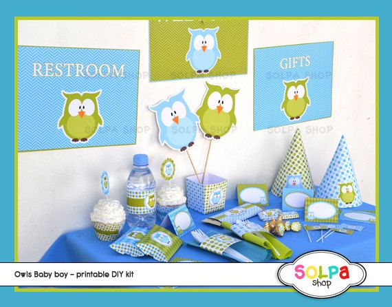 owl baby boy DIY printable Birthday or Baby Shower by Solpashop