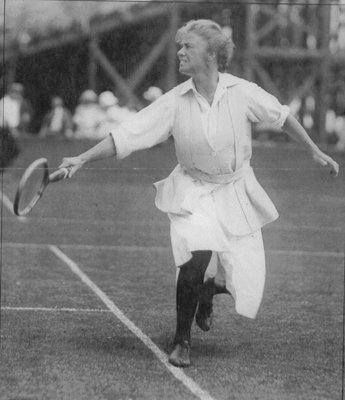 """Eleonora R. Sears was not just the great-great-granddaughter of Thomas Jefferson, she was also a well-known athlete in the early 20th C. She made waves playing tennis with rolled up shirt sleeves and caused a stir in when she rode front-saddle into an all-male polo arena while wearing pants. Despite receiving criticism for her unfeminine style, she remained popular at home and abroad, and has been called """"The Mother of Title IX"""" for her impact on women in sports."""