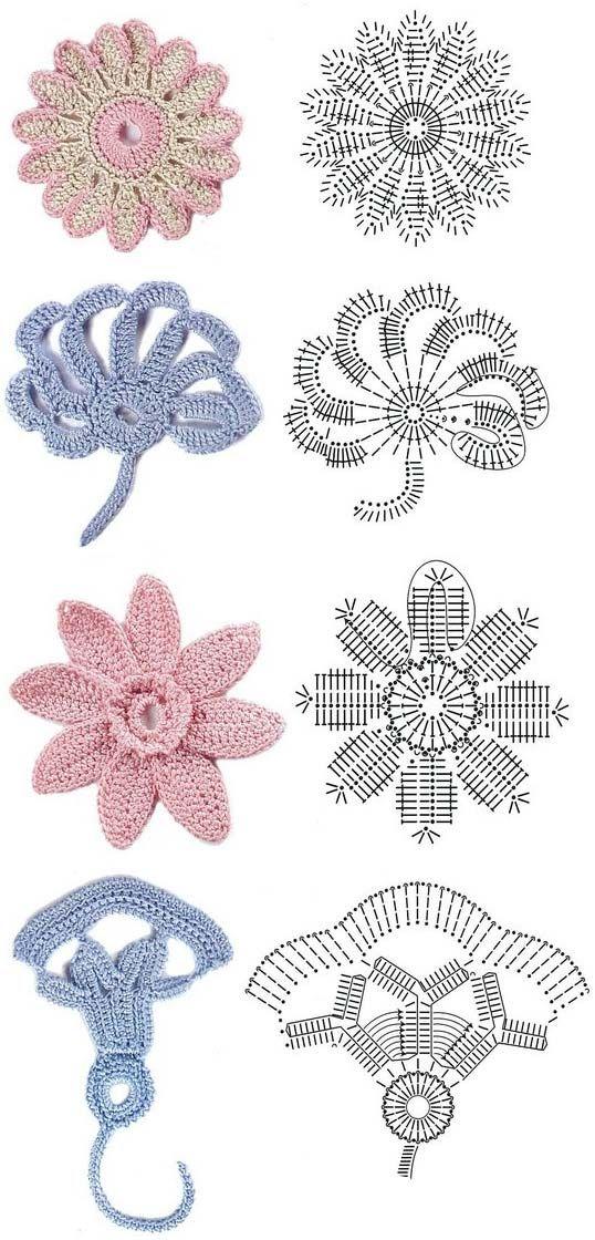 irish crochet motif diagrams   Crochet flowers diagram 2