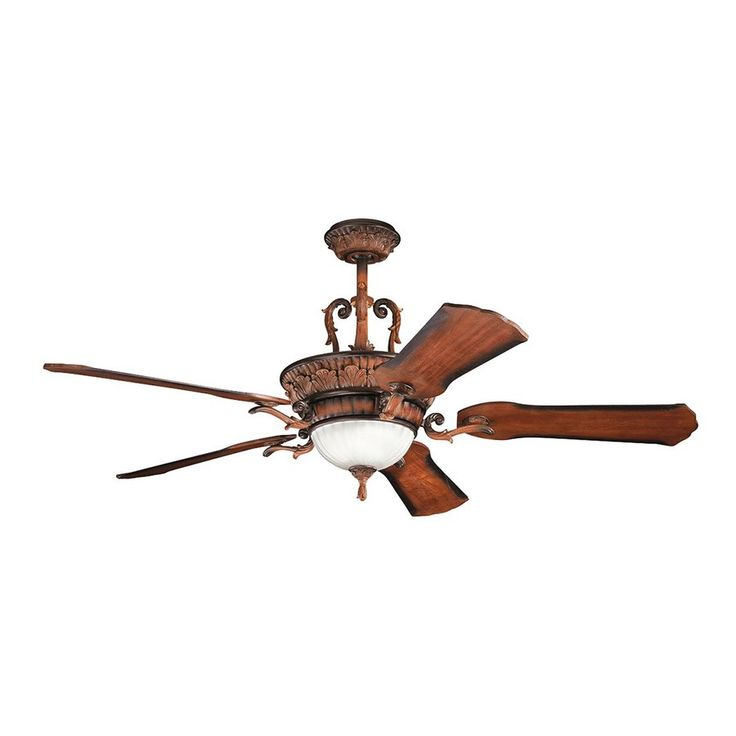 350.00 Kichler Lighting Kimberley 60-in Mediterranean Walnut Downrod Mount Indoor Ceiling Fan with Light Kit and Remote (5-Blade)