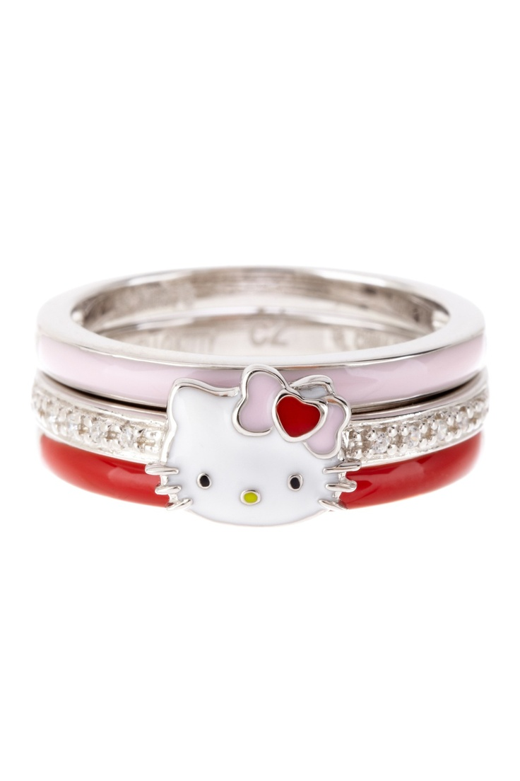 Hello Kitty by Simmons Jewelry Co Sterling Silver Hello Kitty Stack Ring Set