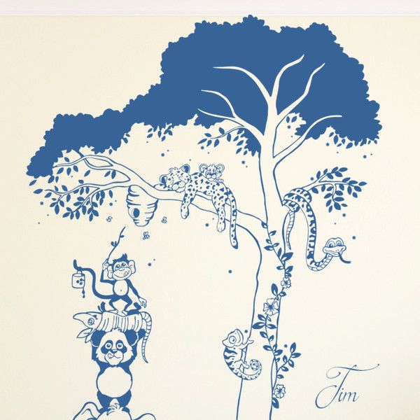 Fabulous Wandtattoo Tiere Dschungel Baum mit Namen M