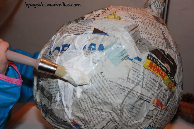 bricolage halloween - citrouille papier maché (7)