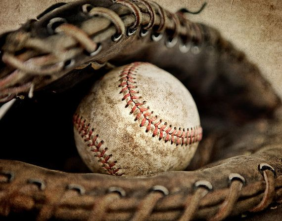 Vintage Baseball in Catchers Mit 16x20 print via Etsy