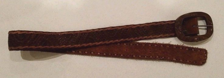 Mexican mexico Gorgeous Hand Tooled Wooden Brown Leather Belt