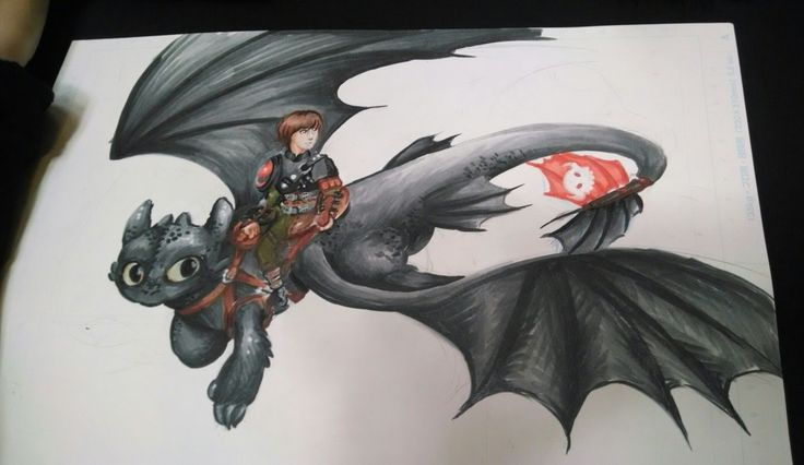 Second WIP of the HTTYD2 print. The boys are done and now I can move on to the background!!  Done in Copic and Sakura white paint marker.