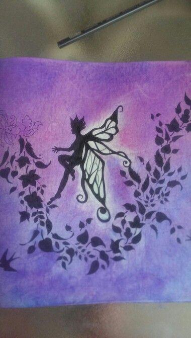 Fairy Johanna Basford leaves silhouette prismacolor nupastels micron pen enchanted forest