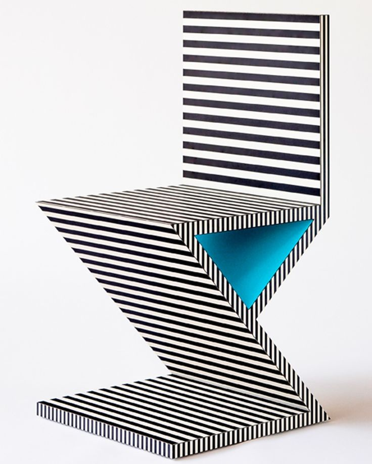 Neo Laminati Chair No. 34 ala Gerrit Reitveld Red and Blue Chair, designed in 1927, it represents one of the first explorations by the De Stijl art movement