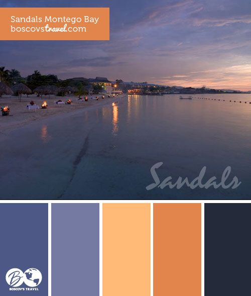 #color #palette #travel Set along Jamaica's longest private white-sand beach, Sandals Montego Bay offers guests an authentic laid-back Caribbean experience and the lively vibe of the islands. Here, the blues are as far as the eye can see and the fun never ends. With eight world-class restaurants, chic oceanfront pools, tropical gardens, and Bay Roc Villas – with butler service – just steps from the sea, Sandals Montego Bay is the hottest resort in Jamaica.