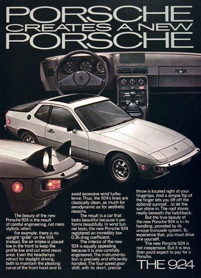1977 Porsche 924 original vintage advertisement. With retractable headlights to maintain low wind turbulence, 4-speed gearshift, and unique transaxle system. The new Porsche.
