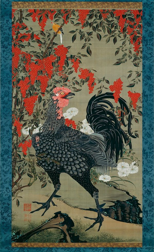 Itō Jakuchū  Nandina and Rooster, from Colorful Realm of Living Beings, set of 30  vertical hanging scrolls, c. 1757–1766  c. 1761-1765  ink and colors on silk  142.6 x 79.9 cm  Sannomaru Shōzōkan (The Museum of the Imperial Collections), The  Imperial Household Agency, Tokyo