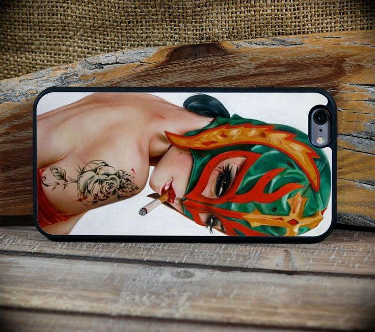 Sexy Smoking Girl Lucha Libre  Print Art  - iPhone 6 or 6S+ custom case #ArtofPhone