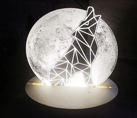 Wolf Night Light Desk Lamp Wooden Lamp Howling Wolf Wolf Night Light Color Changing Lamp Wooden Lamp