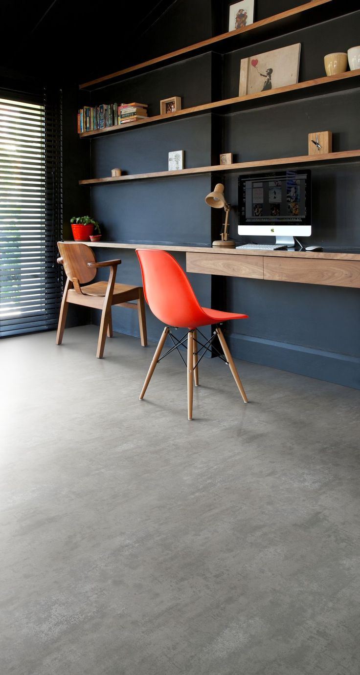Home office featuring Secura PUR luxury vinyl sheet flooring in Powdered Concrete