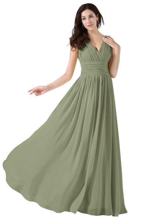6114f1433872 ColsBM Alana Moss Green Elegant V-neck Sleeveless Zip up Floor Length  Ruching Bridesmaid Dresses