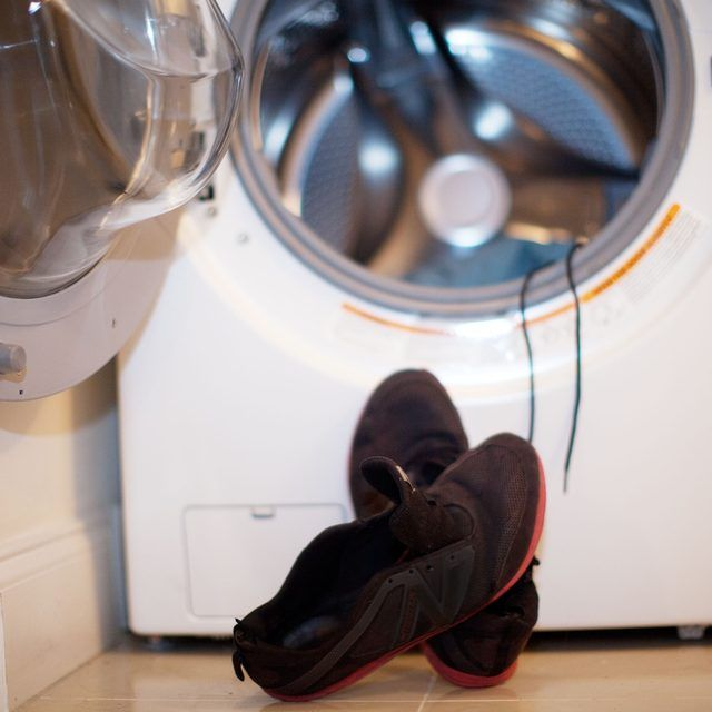 How to Wash Sneakers in a Front Load Washer.  I would probably place the shoe strings in a garment bag to wash them in.  Also I would use old towels.  That's even if I'd put the shoes in my front load machine.