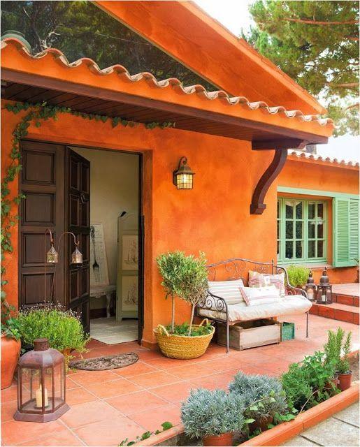 Casa pintada laranja! Linda! ótima combinação com marrom ...
