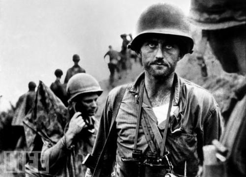 """The Thousand-Yard Stare."" Captain Ike Fenton in Korea in 1950, his company had been on the line for several days and had taken a bit of a beating. This picture was taken by David Douglas Duncan. Duncan was a famous WWII and Korean war combat photographer."