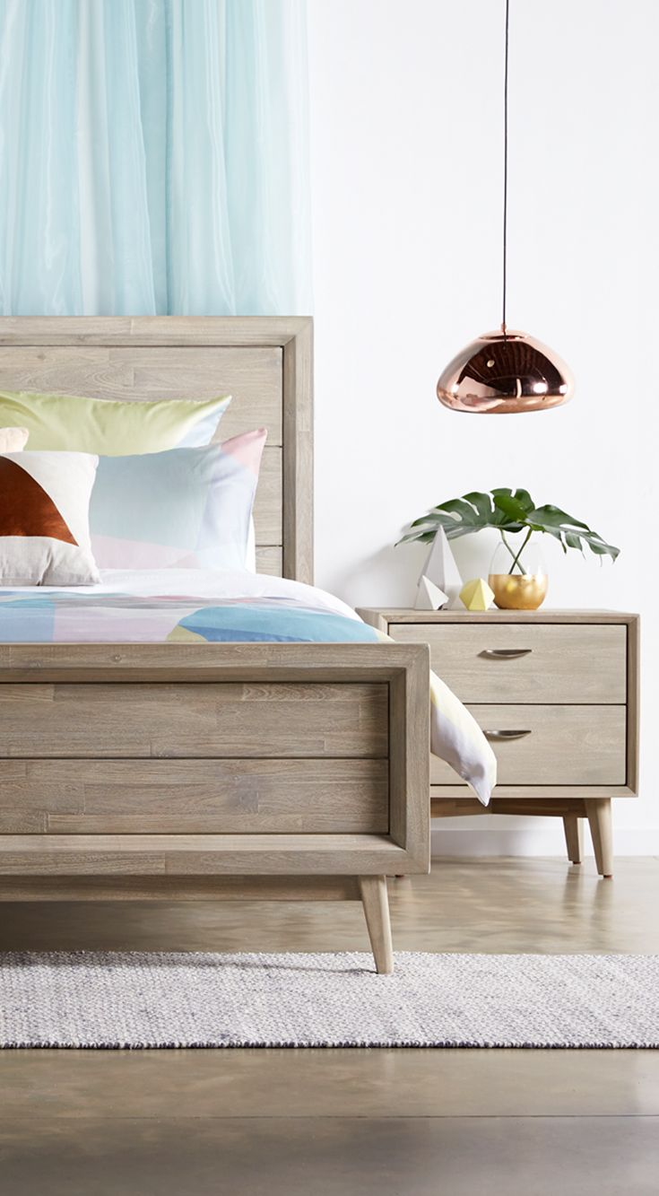 New nordic! With its European styling and retro look, the Celeste gives a 60's classic a modern twist.   Available in King or Queen bed with matching tallboy, dressing table and bedside table, exclusively at Bedshed.