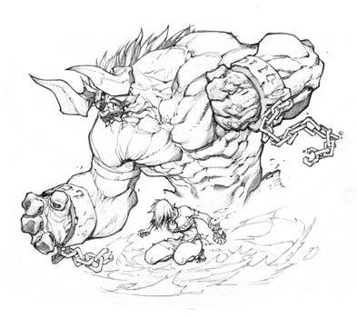 Battle Chasers Nightwar game creature concept art: Bulgrim (Pencil)