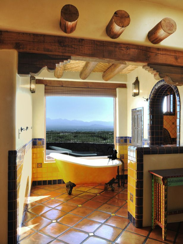 beautiful spanish decoration style idea small bathroom spanish decorating design with view yellow tub - Spanish Decor