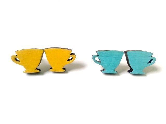 Wooden Tea Cup Stud Earrings £6.00 #folksyfriday