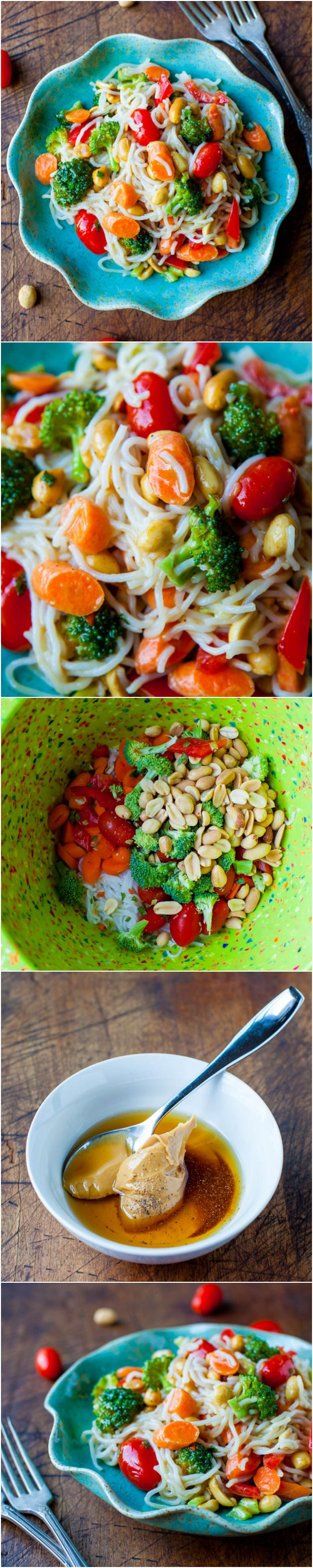 Peanut Noodles with Mixed Vegetables and Peanut Sauce (vegan, gluten-free, soy-free) - You won't need takeout because you can make your own healthy, easy peanut noodles with homemade peanut sauce in less than 15 minutes! Serve warm or cold. Easy recipe at averiecooks.com