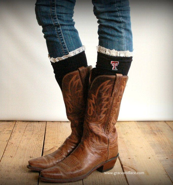 Lacey Fan TEXAS TECH Boot Socks cable knit boot sock with lace and school logo - collegiate boot socks (Item no.12-15). $35.00, via Etsy.