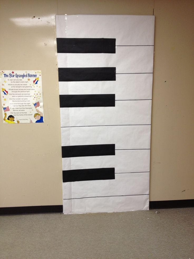 Decorated door-large piano keys using black and white butcher paper large black sharpie & 34 best Cool Office Designs images on Pinterest | Music classroom ...
