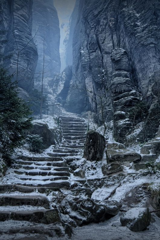 """""""The Emperor's Corridor"""" between the Prachov Rocks, Czech Republic. It looks like a """"Skyrim"""" scenario! You know, one of those stair paths you have to walk to reach Sanctuaries or Barrows..."""