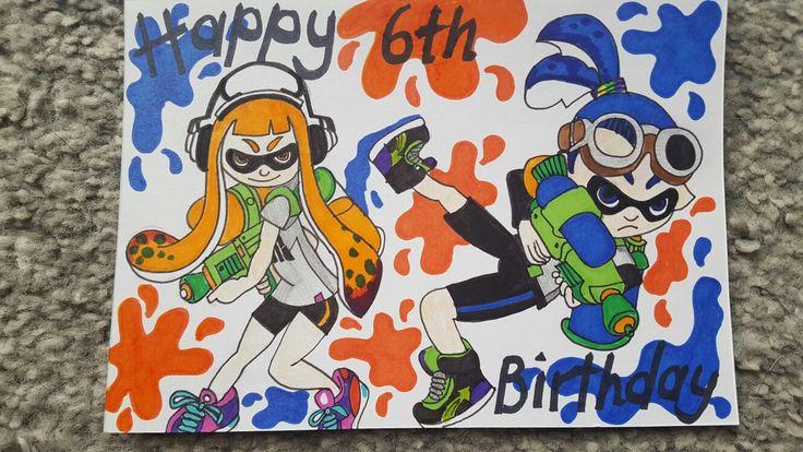 Splatoon hand drawn birthday card