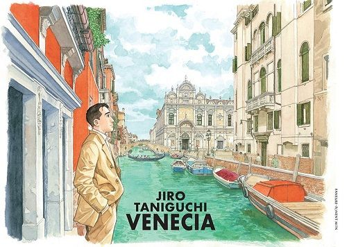Venecia / Jiro Taniguchi. Venecia, una historia, una narración contada por un joven que retracaba las huellas de sus abuelos en Venecia. La historia se presenta en el estilo de los paneles cómicos. Lo seguimos a lo largo del viaje mientras compara las viejas fotos de familia que encontró con los lugares que ve. Cada panel captura las vistas y las escenas de Venecia.
