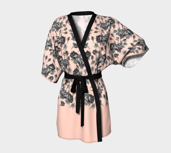 pink floral kimono robe with roses pattern