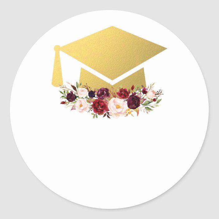 Graduate Gold Burgundy Watercolor Floral Classic Round Sticker Zazzle Com Graduation Crafts Graduation Stickers Graduation Wallpaper