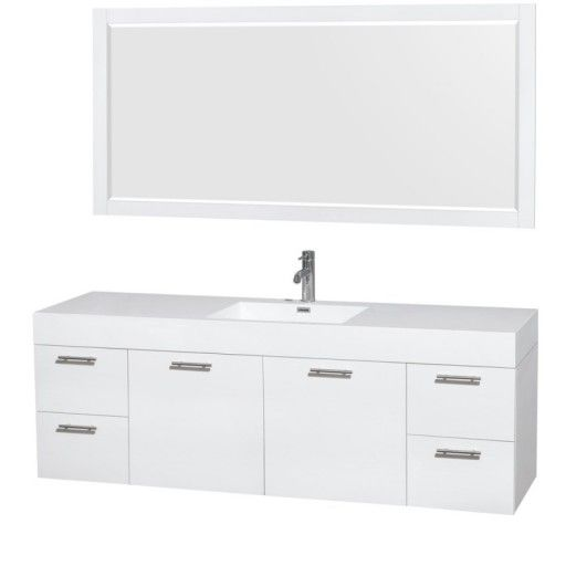 """Wyndham Collection Amare 72"""" Single Bathroom Vanity in Glossy White, Acrylic-Resin Countertop, Integrated Sink, and 70"""" Mirror WCR410072SGWARINTM70"""