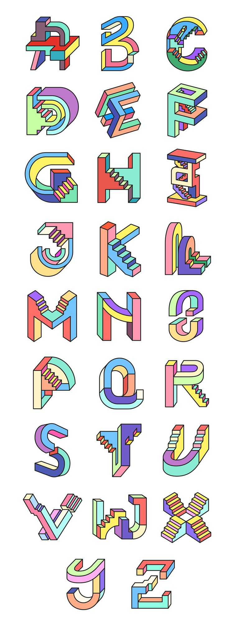 This is my take on the 3rd edition of the project, an alphabet based on geometric forms, that combines weird perspectives, impossible-like figures, volumes and colours, lots of colours! Hope you like it!