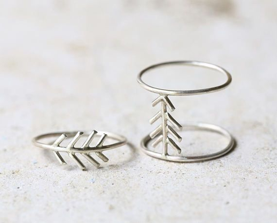 Fir tree ring Sterling silver fir tree jewelry stackable