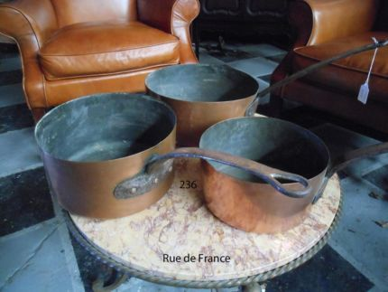 BIG ANTIQUE FRENCH COPPER KITCHEN COOKING PANS