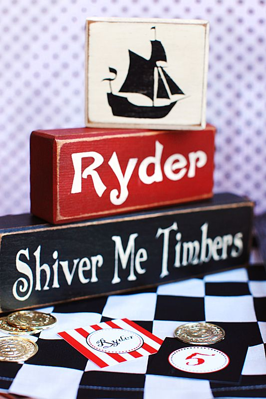 pirate party wood signs :: the tomkat studio  thought of Ms. Ryder!!!