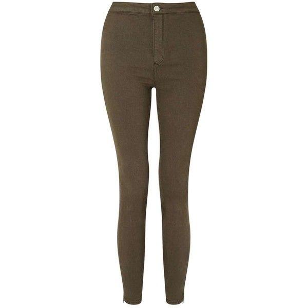 Miss Selfridge STEFFI Super High Waist Khaki Zip Hem Jeans ($53) ❤ liked on Polyvore featuring jeans, khaki, brown jeans, slim fit stretch jeans, stretchy jeans, slim cut jeans and high waisted jeans