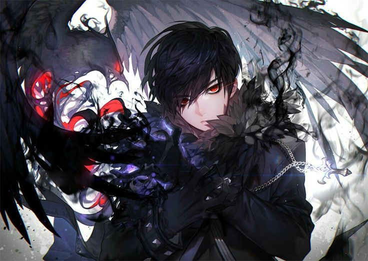 Anime Boy Nightmare Wings ���ิลปะคาแรคเตอร์ ���ัว