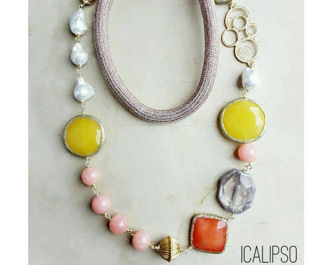 Lunga collana, collana di perline, fidanzata gioielli idee, gioielli della perla per moglie, regalo per moglie collana, collana boho, bohemien gioielli