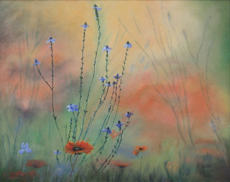 Flowers in the Mist.   53 x 43cm.  Oil on canvas