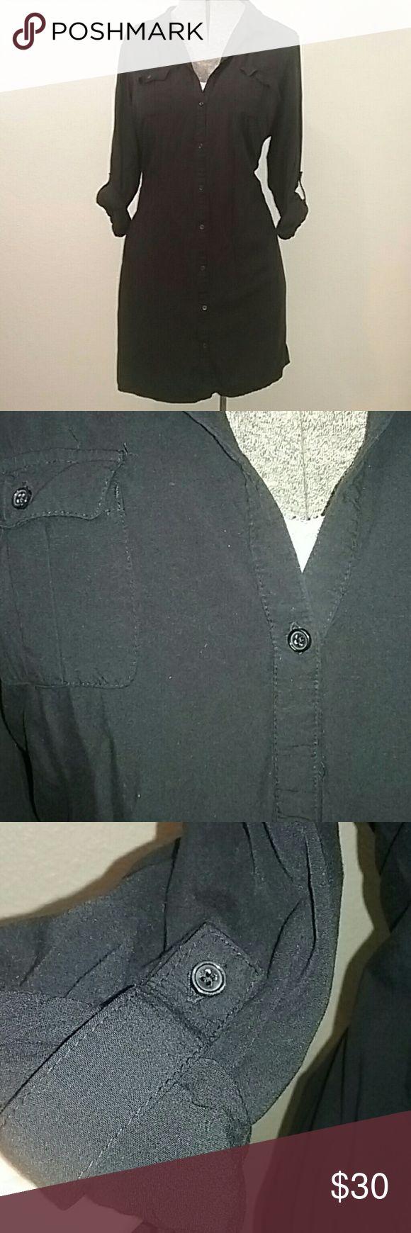 Black Safari Dress Black button front safari style tee shirt dress with 2 chest pockets. Old Navy Dresses