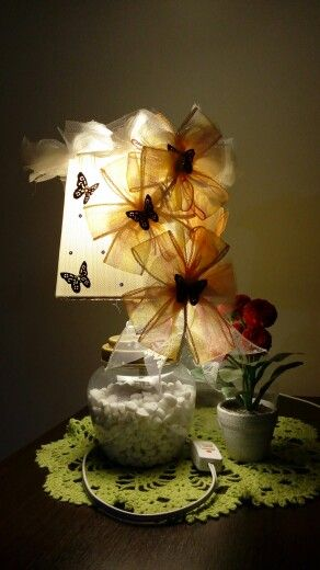 My artwork for my table lamp, use recyle material and product